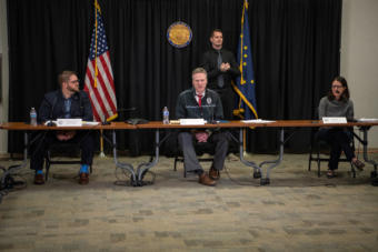Alaska officials hold an extended panel press conference about COVID-19 from the Atwood Building in Anchorage on March 25, 2020.