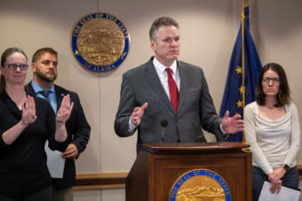Alaska Gov. Mike Dunleavy speaks about the state's COVID-19 response from the Atwood Building in Anchorage on March 20, 2020.