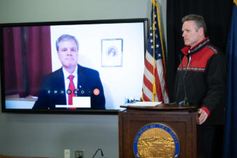 Alaska Education Commissioner Michael Johnson discusses the new statewide virtual school on Wednesday, April 1, 2020, at a news conference with Gov. Mike Dunleavy. (Creative Commons photo by Office of Gov. Mike Dunleavy)