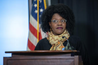 Department of Labor and Workforce Development Commissioner Tamika Ledbetter during a press conference on the COVID-19 pandemic on April 3, 2020, in Anchorage, Alaska. (Creative Commons photo courtesy Alaska Governor's Office)
