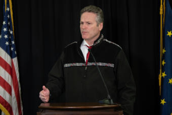 Alaska Gov. Mike Dunleavy speaks about the state's COVID-19 response from the Atwood Building in Anchorage (Creative Commons photo courtesy Alaska Governor's Office)