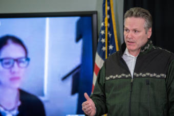 Gov Dunleavy press conference (Creative Commons photo courtesy Alaska Governor's Office)