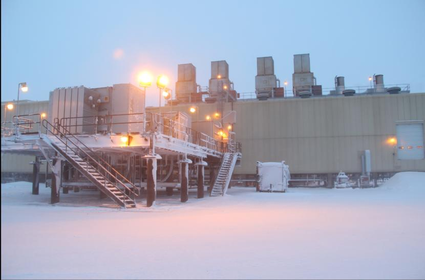 A unit at the edge of ConocoPhillips' Kuparuk oil field, on Alaska's North Slope. (Photo by Rachel Waldholz/Alaska Public Media)