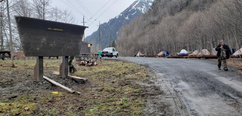 A camper heads into town from the City and Borough of Juneau's Mill Campground on April 29, 2020.