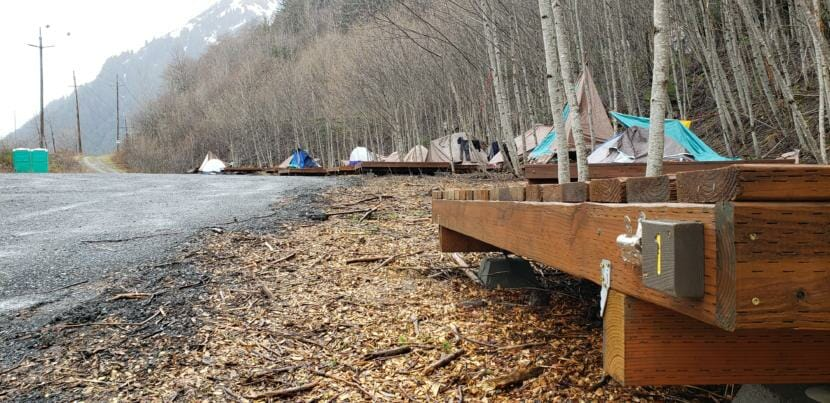 Twelve out of 20 tent platforms at the City and Borough of Juneau's seasonal Mill Campground are occupied on April 28, 2020.