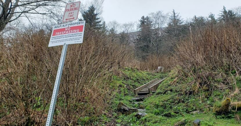 A steep path leads up to the City and Borough of Juneau's former Thane Campground on April 28, 2020.