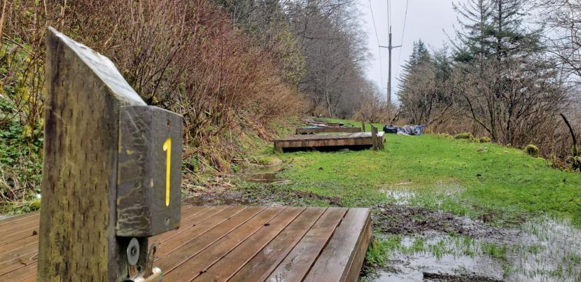 The tent platforms remain at the City and Borough of Juneau's former Thane Campground on April 28, 2020.