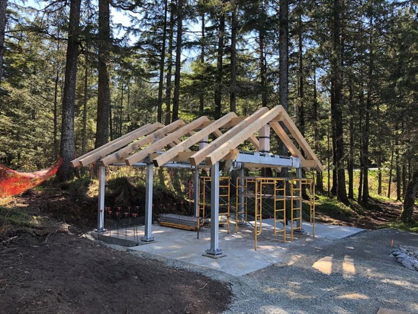 An new picnic shelter takes shape in the U.S. Forest Service's Lena Beach Recreation Area, pictured here in May 2020.