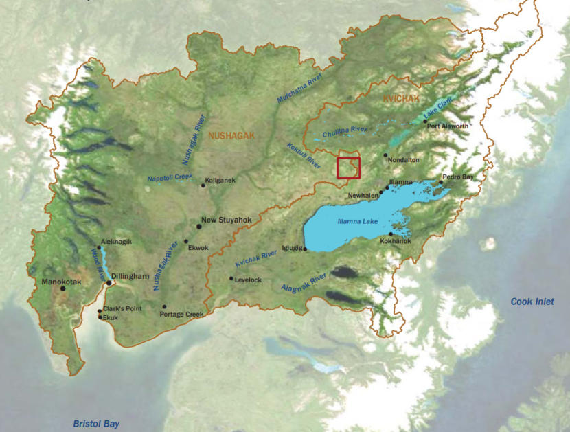 Map of the Bristol Bay region. The Pebble deposit location is indicated by the red box. (Photo courtesy U.S. EPA)