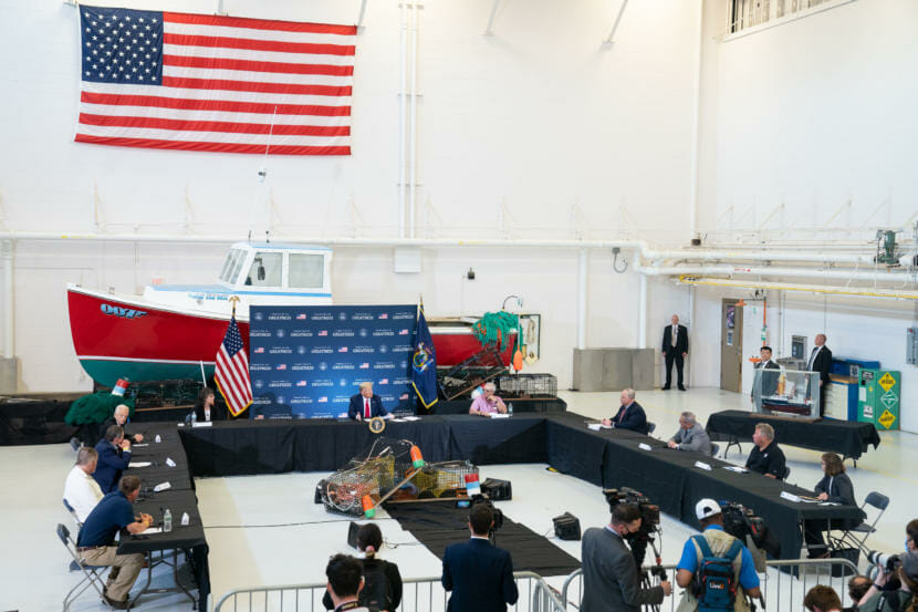 President Donald J. Trump participates in a roundtable on supporting America's commercial fisherman Friday, June 5, 2020, at Bangor International Airport in Bangor, Maine. (Official White House Photo by Joyce N. Boghosian)