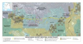A map of the proposed Ambler Road project (Map courtesy of the Bureau of Land Management)