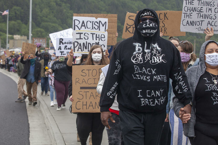 This was Juneau's second anti-racist rally in support of Black Lives Matter - this time organizers focused on the message that Juneau is not immune to the problems of institutional racism and anti-black messaging.