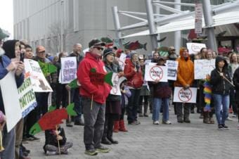 Protestors of the Pebble Mine in Anchorage