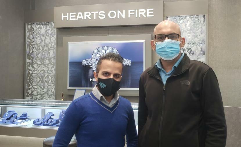Sunny Harjani and Pankaj Chang at Blue Diamond jewelry store