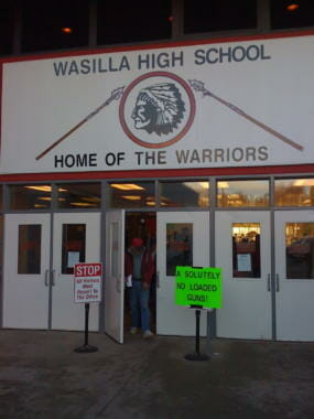Entrance to Wasilla High School with warriors logo