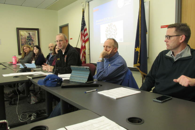 Ketchikan fire chief and emergency manager Abner Hoage, third from right, answers reporters' questions about the local response to the coronavirus at a March 10, 2020 press briefing. (Maria Dudzak/KRBD).