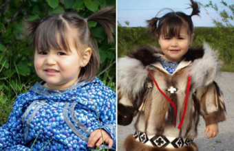 Two photos of a child who participated in the contest. On the left, she is wearing a blueberry-print atikłuk. On the right, a replica of a parky made in 1949