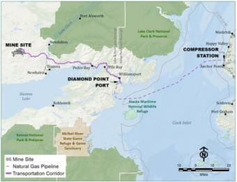 A map showing the proposed route from Cook Inlet to the mine site.
