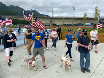 A group gathered for a Juneau Backs the Blue rally on Saturday, July 4, 2020, in Juneau, Alaska, (Photo by Rashah McChesney/KTOO)