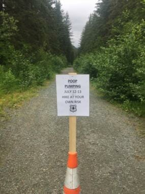 This sign was posted near the head of the Windfall Lake Trail in Juneau on July 12, 2020.