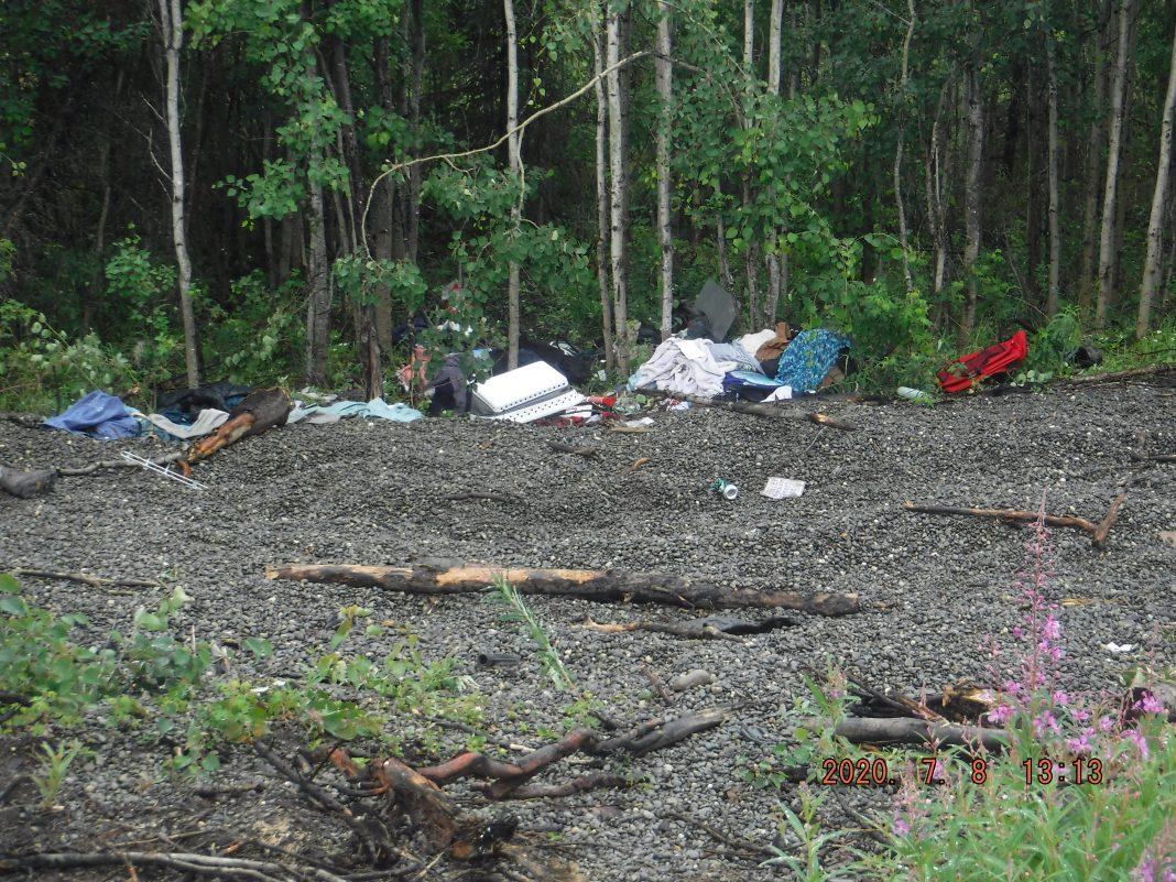 Trash dumped near a recreational access road in the Kenai National Wildlife Refuge
