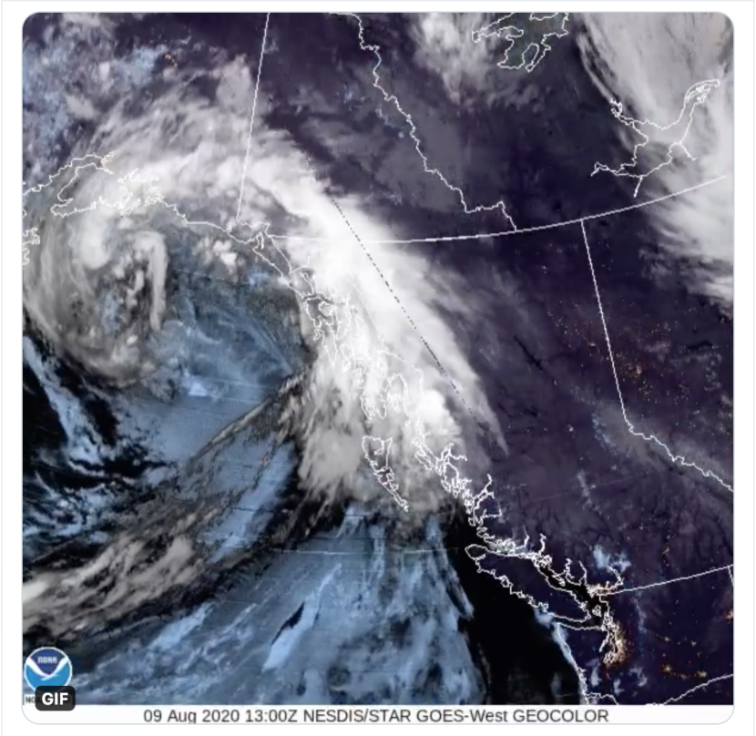 Satellite image of the comma-shaped low pressure system that arrived in the Gulf of Alaska on Sunday, Aug. 9.
