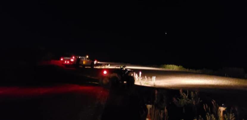 Vehicles light Igiugig's runway on Friday, August, 28, 2020. (Photo courtesy Ida Nelson)