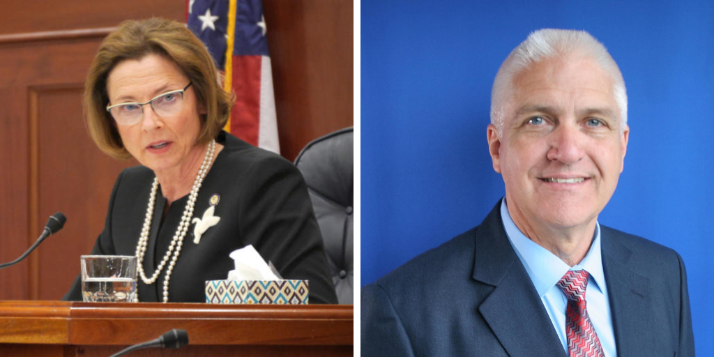 Senate President Cathy Giessel, left, is facing a primary challenge from Roger Holland, right. (Giessel photo by Skip Gray/360 North, Holland photo provided by Holland)