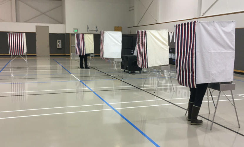 Voters make their choices during Alaska's primary election on Aug. 18, 2020, at Juneau-Douglas High School Yadaa.at Kalé. The booths are kept more than six feet apart as a COVID-19-related safety measure. (Photo by Andrew Kitchenman/KTOO and Alaska Public Media)