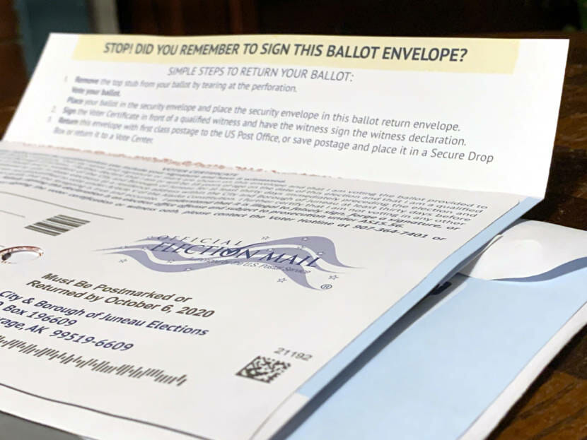 A mail-in ballot for Juneau's 2020 municipal election. (Photo by Rashah McChesney/KTOO)