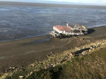 A Northline Seafoods barge was beached near Ekuk after a storm hit the area with 80 mph winds