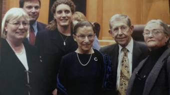Ruth Bader Ginsburg stands at center for a photo with five other attorneys