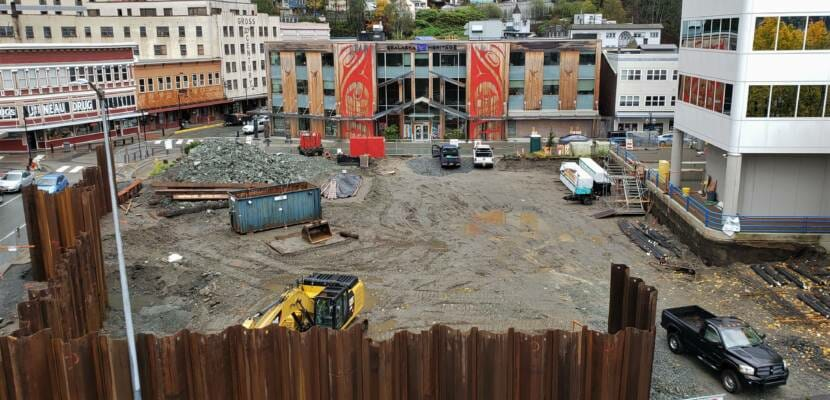 Construction vehicles sit idle at Sealaska Heritage Institute's arts campus construction site in downtown Juneau on Oct. 5, 2020.