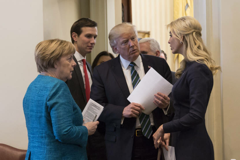 President Donald Trump talks with German Chancellor Angela Merkel, Friday, March 17, 2017, in the outer Oval Office, joined by Senior White House Advisor Jared Kushner and Ivanka Trump, at the White House in Washington, D.C. (Official White House Photo by Shealah Craighead)