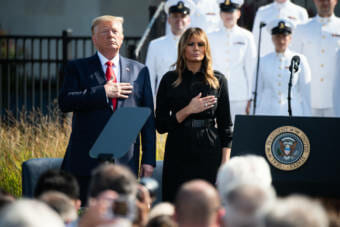 President Donald J. Trump and First Lady Melania Trump stand as TAPS is played during the annual 9/11 Observance Ceremony in Washington D.C., Sept. 11, 2019. (DoD Photo by U.S. Army Sgt. James K. McCann)