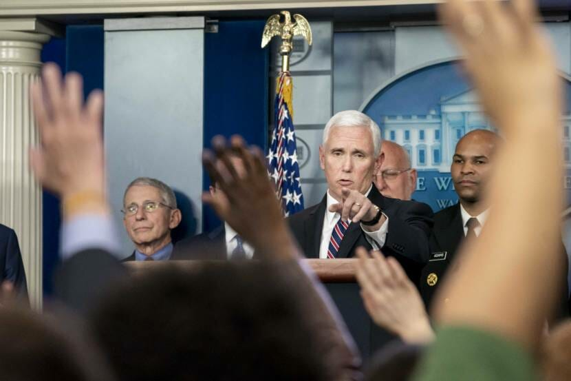 Vice President Mike Pence, joined by members of the White House Coronavirus Taskforce, gestures to a reporter as he takes questions during a coronavirus update briefing Monday, March 9, 2020, in the James S. Brady Press Briefing Room of the White House. (Official White House Photo by D. Myles Cullen)