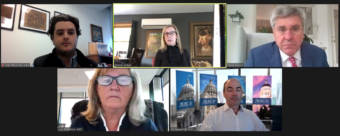 """Former Alaska budget director Donna Arduin, top row center, speaks about a report that ranked Gov. Mike Dunleavy 49th of 50 governors in """"economic freedom."""" Also pictured are American Legislative Exchange Council employees Dan Reynolds, Lisa B. Nelson and Bill Meierling, and economic writer Stephen Moore, who participated in a webinar on the report on Oct. 16, 2020. (Screen shot of webinar)"""