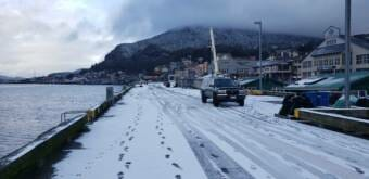 Snow blankets Ketchikan's cruise ship docks on Feb. 1, 2020.