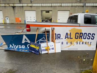 According to an Alaska Department of Transportation and Public Facilities spokesman, crews photograph every sign in the state right of way before they pull them, plus all the signs from a patrol before they go into storage, as pictured here in 2020.