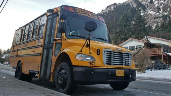 school bus idles at JDHS