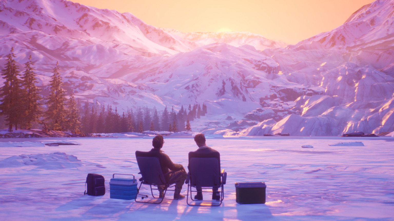 """Graphic from """"Tell Me Why"""" video game of two people sitting in camp chairs in the snow looking at a mountain"""