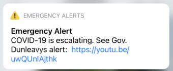 Screenshot of a cellphone alert from the Governor