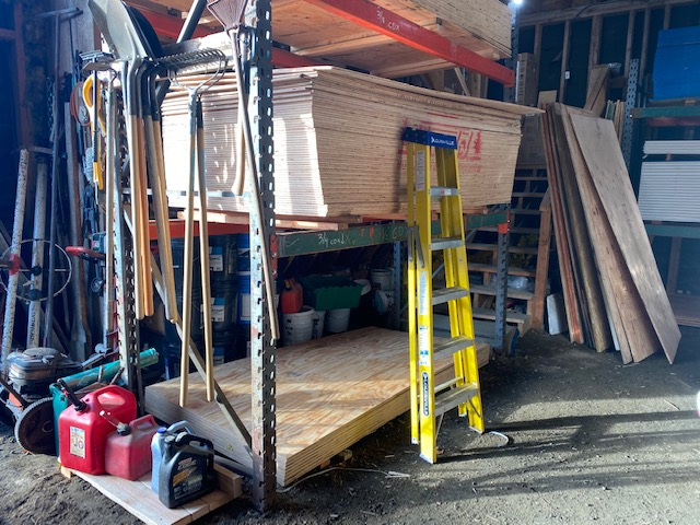 Units of plywood stacked at a Haines hardware store.