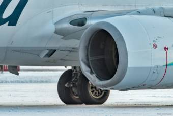 Close up of damage to a jet engine after an Alaska Airlines plane hit a bear on the Yakutat runway