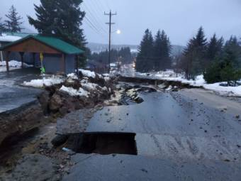 Heavy rain led to flooding in Haines, washing out roads and damaging properties. (Photo courtesy of Erik Stevens)
