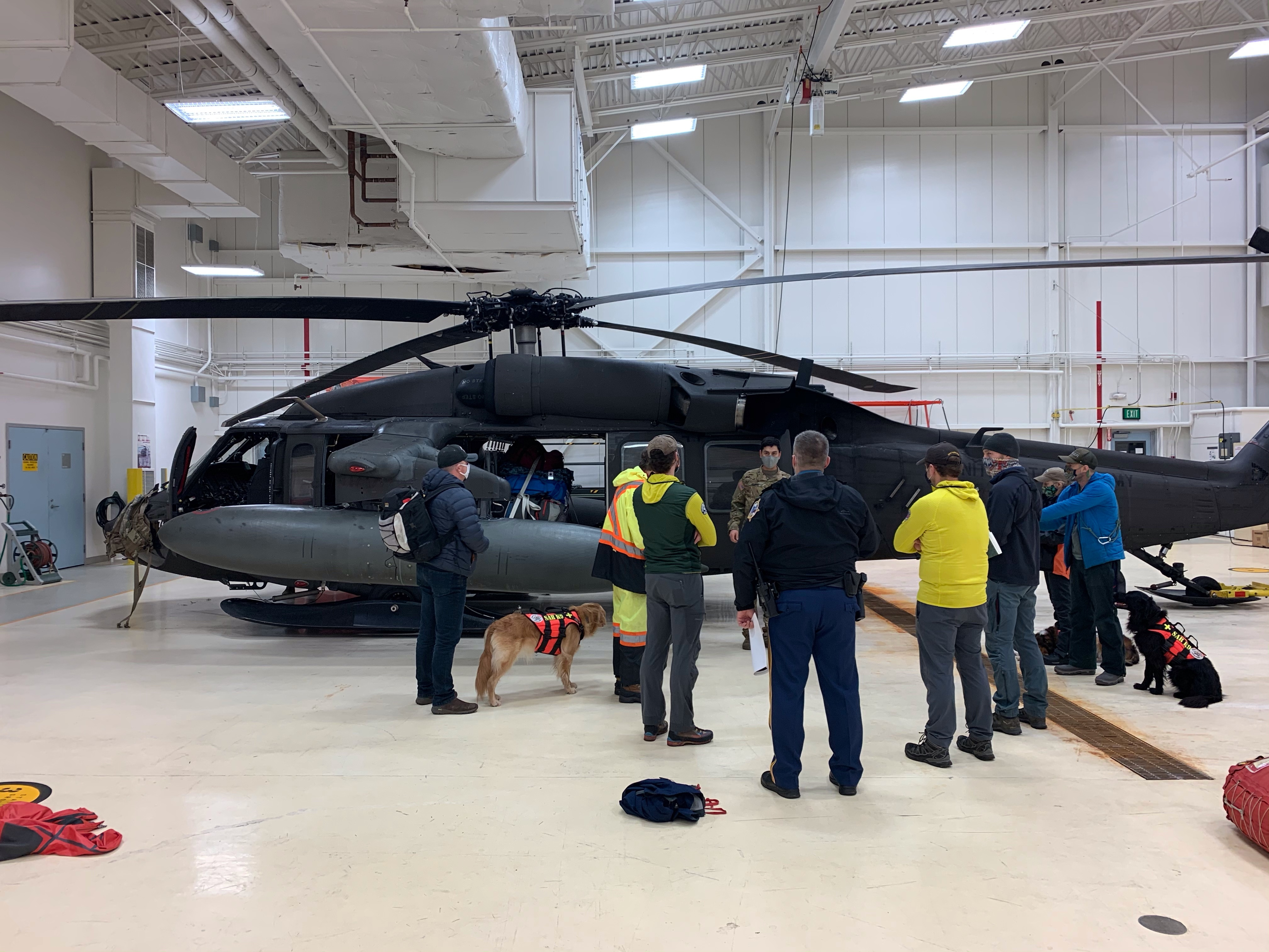A UH-60 Black Hawk helicopter from the Alaska Army National Guard in Juneau, prepares to take search and rescue crew to Haines (Alaska Army National Guard courtesy photo by 1st Lt. David Marshall)
