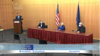 Alaska's electoral college members cast their 2020 votes for President Trump on Monday, Dec. 14, 2020. From left to right: Lt. Gov. Kevin Meyer, John Binkley, Judy Eledge, Randy Ruedrich (screenshot from Gavel Alaska video)