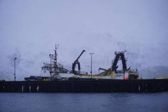The F/T Legacy at North Pacific Fuel's dock on Captains Bay Road in Unalaska