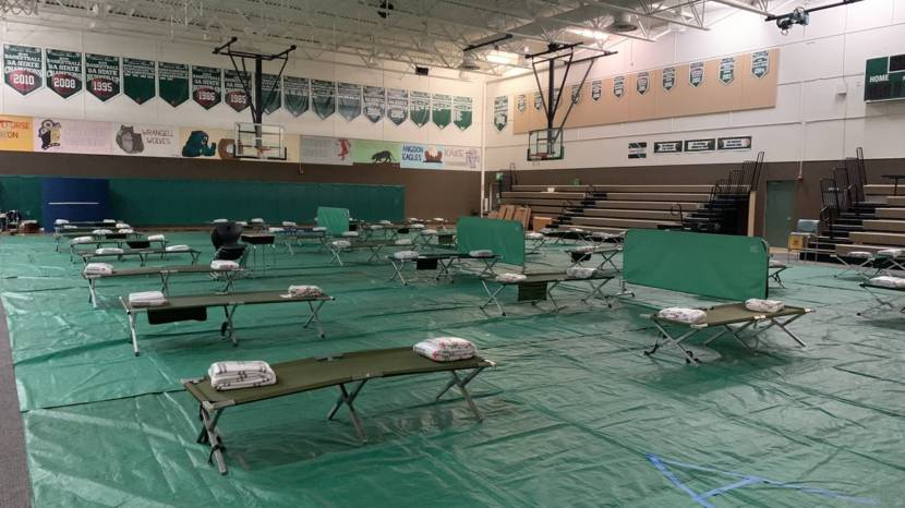 The high school gym in Haines set up as a shelter for evacuees from flooding and landslides