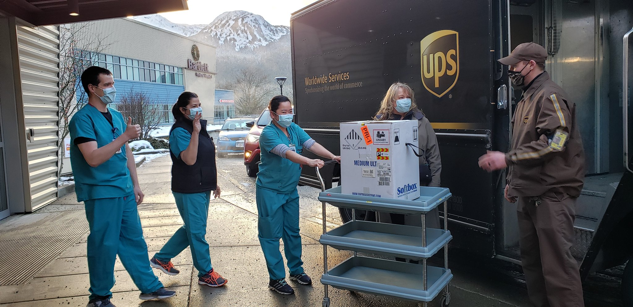 A UPS courier delivers Juneau's first shipment of Pfizer's COVID-19 vaccine to Bartlett Regional Hospital on Dec. 15, 2020.